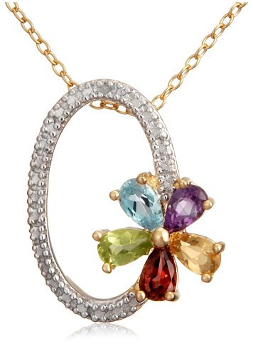"""Gold Plated Sterling Silver Multi-Gemstone and Diamond Accent Oval Flower Pendant, 18"""""""