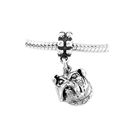 Sterling Silver Bulldog Head Dangle Bead Charm