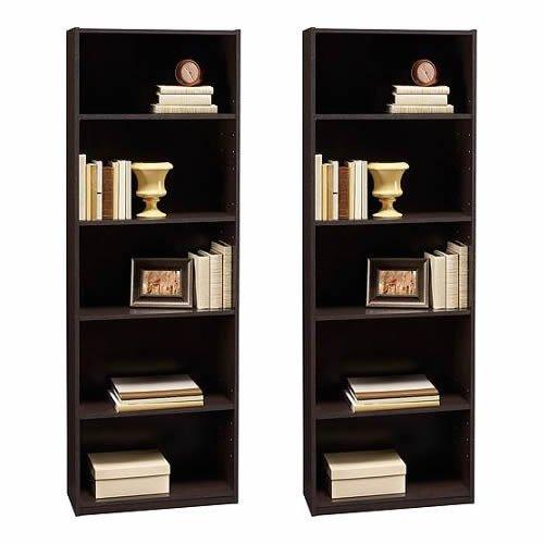 Ameriwood 5-shelf Bookcases, Set of 2, Espresso 2 Shelf 5 Shelf Bookcase