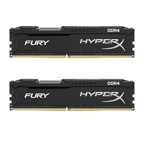 Kingston HyperX Fury Kit di Memoria 16 GB, 2x8 GB, 2133 MHz, DDR4, Non-ECC CL14 DIMM, Compatibili con Skylake, Nero/Antracite