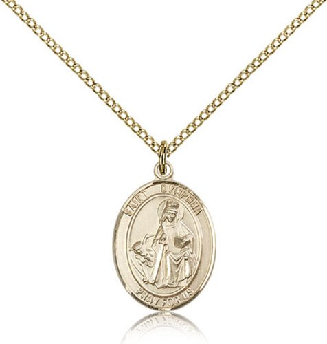 Gold Filled St. Dymphna Pendant 3/4 X 1/2-Inch Medal