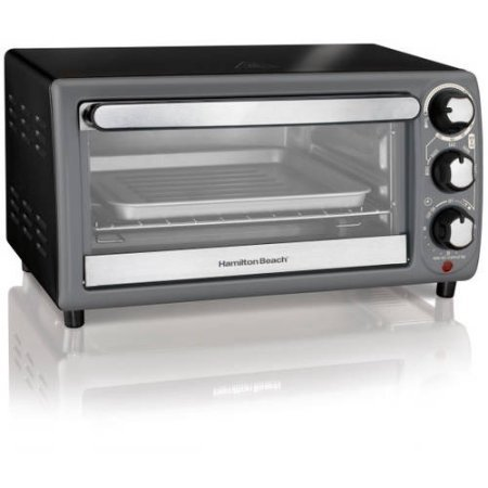 Hamilton Beach Broil, Keep Warm, Bake, Bagel and Toast Function, Durable,, 4-Slice Toaster Oven, Charcoal- Includes oven rack, bake pan and slide-out crumb tray
