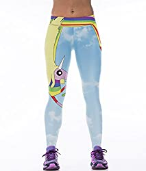 iSweven Rainbow Design Printed Polyester Multicolor Yoga pant Tight legging for womens girls