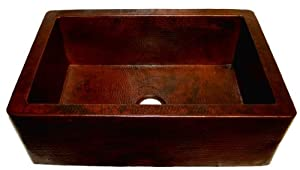 107CK Single Bowl SOLID COPPER Apron Front Farm House Sink- Hand Hammered Finish