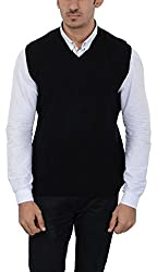 Aarbee Mens Woolen Sweater (Reversible S-L04, Black, Medium)
