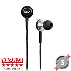 RHA MA-350 Aluminium Noise Isolating In-Ear Earphones - 3 year warranty