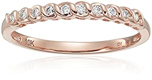10k Rose Gold Diamond Wedding Band, Size 7