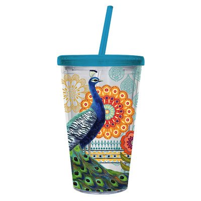 Cypress Insulated Cup W/Straw 17Oz, Proud Peacocks front-70723