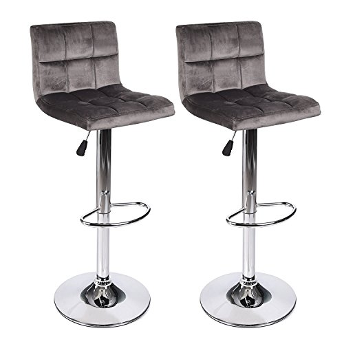Set of 2 Barstool Velvet Fabric Cushion Chair Adjustable Swivel Counter Top Home