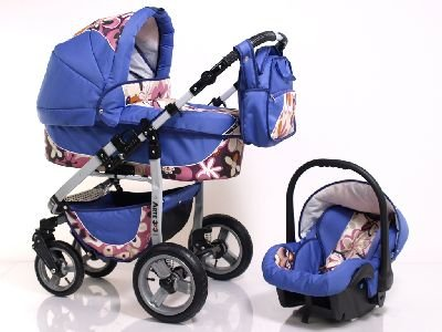 ADBOR Combo Pram ARTE3x3 + Car Seat No.36 purple / flower