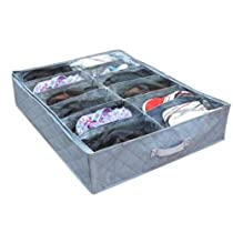 12 Cell Charcoal Under Bed Shoe Storage Bag with Transparent Cover