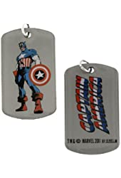 Superhero Captain America Standing Tall Dog Tag Necklace 1019