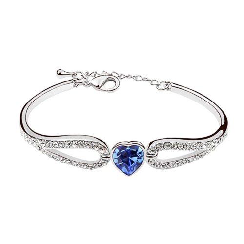 Dreamslink Fashion Jewellery 18K White Gold Plated Bracelet Blue Color Swarovski Elements Austria Crystal Sweet Love Heart Bracelet 94034