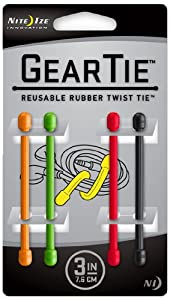 Nite Ize GT3-4PK-A1 Gear Tie Reusable 3-Inch Rubber Twist Tie, Assorted Colors