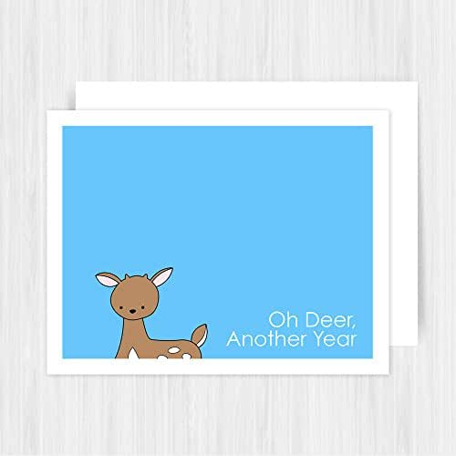 Pun - Handmade Greeting Card - Oh Deer Another Year: Sunny Dove Studio