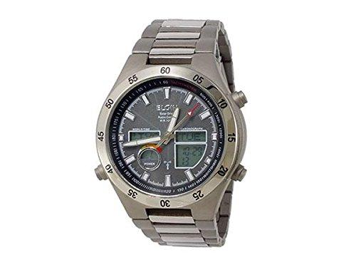 [エルジン]ELGIN 腕時計 電波 ソーラー ワールドタイム チタン 100M防水 ブラック FK1390TI-BP メンズ