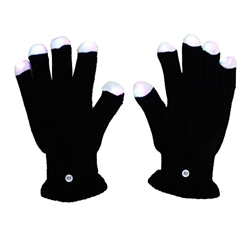 Topicker Raver Blacked Out Gloves RGB LED 7 Colors Light Show Gloves