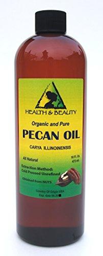 Pecan Oil Unrefined Organic Carrier Cold Pressed Virgin Raw Premium Pure 16 oz