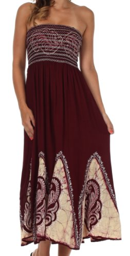 AA34 – Batik Print Embroidered Sleeveless Smocked Tube Top Long Dress ( Various Colors ) – Chocolate/Cream/One Size