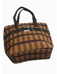Cross Check Pattern Jute Shoulder Bag (Brown)