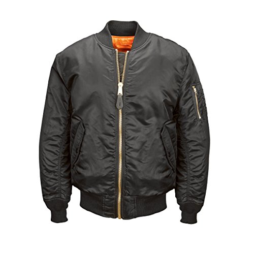 Alpha Industries Men`s MA-1 Bomber Blood Chit Flight Jacket, Black, Small