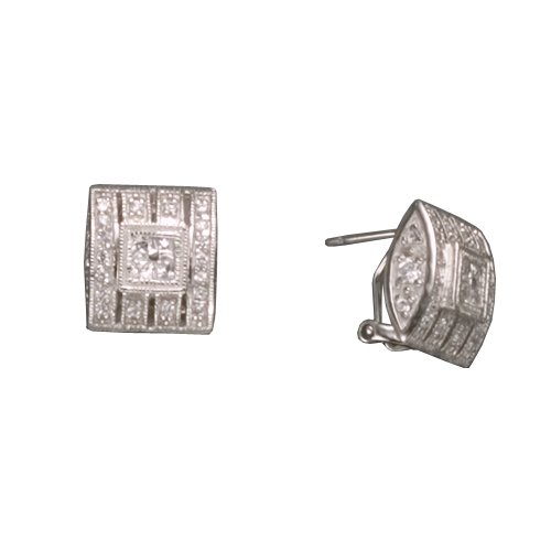 C.Z. SQUARE CLIP POST RHODIUM PLATED (.925) STERLING SILVER EARRINGS (Nice Holiday Gift, Special Black Firday Sale)