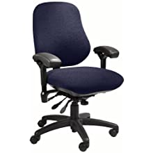 "BodyBilt J2509 Blue Fabric XL High Back Thoracic Support Task Ergonomic Chair with Arms, 22"" Length x 21.50"" Width Backrest, 23"" Width Seat, Grade 1"