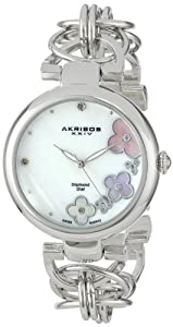 Akribos XXIV Women's AK645SS Lady Diamond Swiss Quartz Diamond Mother-of-Pearl Flower Silver-tone Circle Link Bracelet Watch