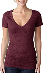 Ladies Burnout Deep V-Neck Tee