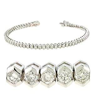 14k White Tennis 4 Ct Diamond Bracelet - JewelryWeb
