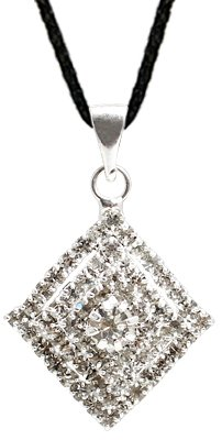 Crystal studded Pendant with 18' to 21 inch adjustable silk cord necklace by GlitZ JewelZ © - beautifully designed and hand polished to a very high jewellery standard - comes with a lovley velvet pouchette