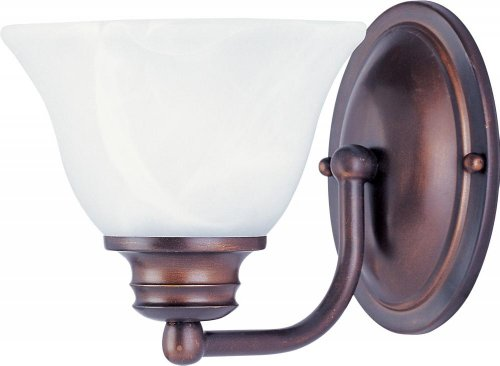 Maxim Lighting 2686MROI Malibu 1 Light Wall Sconce in Oil Rubbed Bronze with Marble Glass