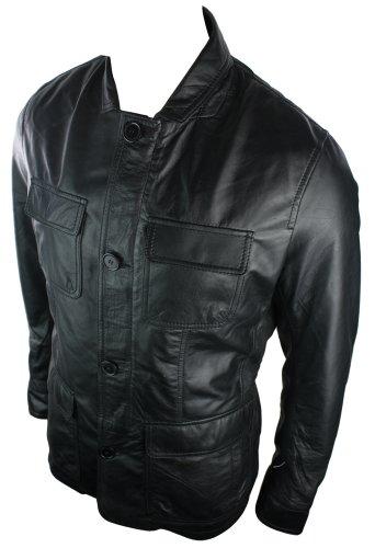 Mens Black Retro Mid Length 4 Pocket Jacket Real Leather Small Collar Vintage look