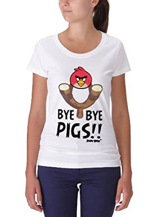 Angry Birds Women's T-Shirt  - White - White - 6 (Brand size: XS)