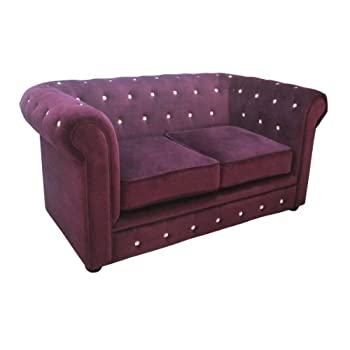 pas cher premier housewares chesterfield canap 2 places velours strass violet 90 x 155 x 73. Black Bedroom Furniture Sets. Home Design Ideas