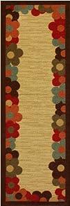 Rubber Collection Daisy Frame Beige Multi-Color Printed Non Skid Slip Rubber Back Latex Contemporary…