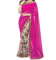 SareeShop Women's Faux Georgette Pink Saree With Attached blouse Piece(AaishaPink_PINK_FreeSize)