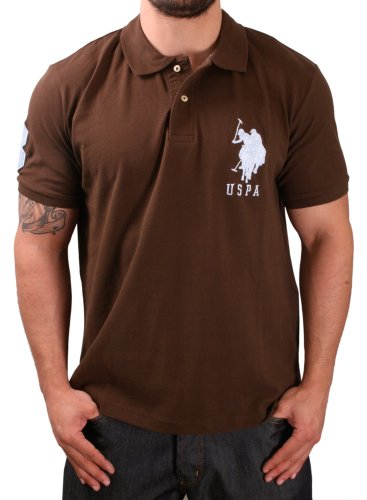 US Polo Assn USPA Men's Solid Pique Polo Shirt Big Pony Brown Size XL