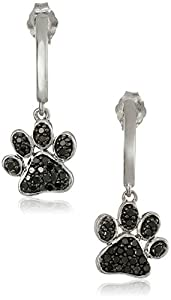 Sterling Silver and Black Diamond Dog Paw Earrings (3/8 cttw)