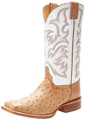 "Justin Boots Men's U.S.A. Aqha Lifestyle Collection 13"" Remuda Series Boot Wide Square Double Stitch Toe,Antique Tan Vintage Full Quill Ostrich/White Delegance Cowhide,8 D US"