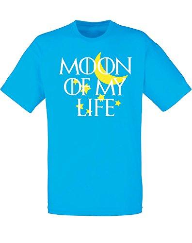 Moon Of My Life, T-Shirt Stampata Da Uomo - Azzurro/Blanco/Giallo 2XL = 119-124cm