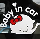 Toupons Cute Baby in Car Sign Car Sticker for VW BMW MG Mazda Opel Toyota (White-2)
