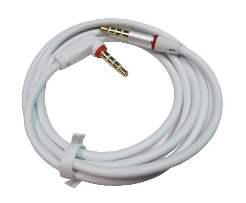 Ledhill Gerffins 3.5-Mm Trrs (Stereo-Plus-Mic) Full Conductor Stereo Audio Cable (White - M/M L Style (Gold-Plated))