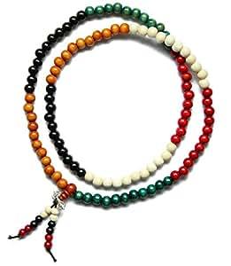 On The Journey 8mm Buddhist 108 Green Sandalwood Beads Prayer Wrist Meditation Mala with Free Fortune Cat Pendant