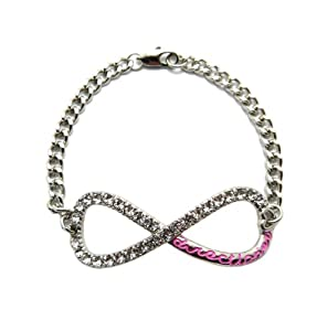 Very Rare Silver/Pink One Direction Infinite Directioner Charm w/4mm Link Chain Bracelet MB282RPK by NYfashion101, Inc.