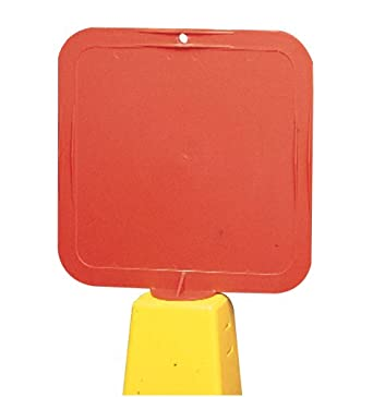 "Jackson Safety 14541 Plastic Frame Lock-In Sign for Lamba Cone, 8"" Width x 8"" Height, Red"