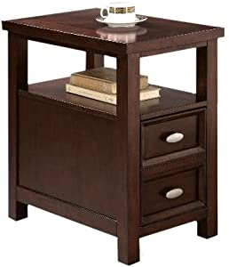 NEW Chairside End Table In Rich Espresso Cappuccino Oversized Dra