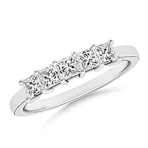 Five Stone Princess Diamond Wedding Band in 14K White Gold
