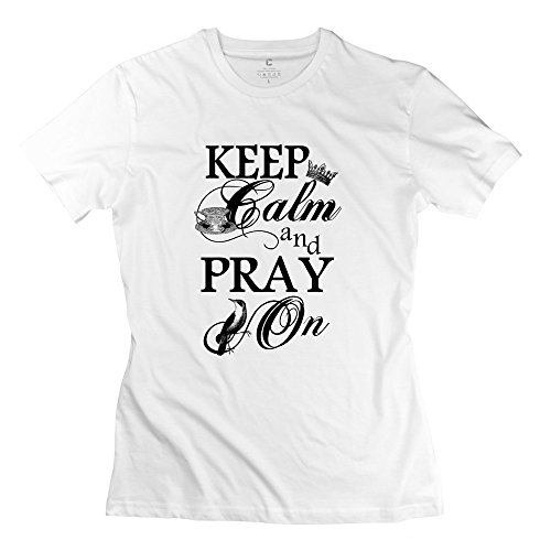 Keep Calm Pray Womens Valentine'S Day T-Shirt Size Small White
