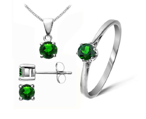 Stunning 9 ct White Gold Ladies Solitaire Earrings + Pendant + Ring with Chrome Diopside 1.04 Carat - 45cm*9mm*5mm